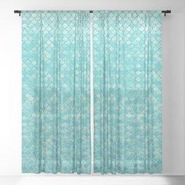 Teal Mermaid Scales Sheer Curtain