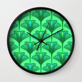Art Deco Lily, Jade Green and Turquoise Wall Clock