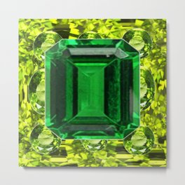 GREEN EMERALD & PERIDOT GEMS VINETTE Metal Print