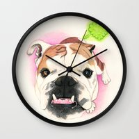 english bulldog Wall Clocks featuring English Bulldog - F.I.P. - @LucyFarted by PaperTigress