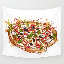 Italian pizza with splashes in watercolor style Wall Tapestry