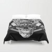 bioworkz Duvet Covers featuring Samurai Skull by BIOWORKZ