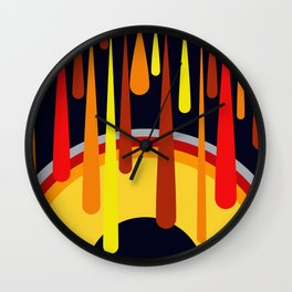 Drops & Rainbow - red - yellow - black Wall Clock
