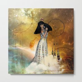 Beautiful amarican indian with dreamcatcher Metal Print