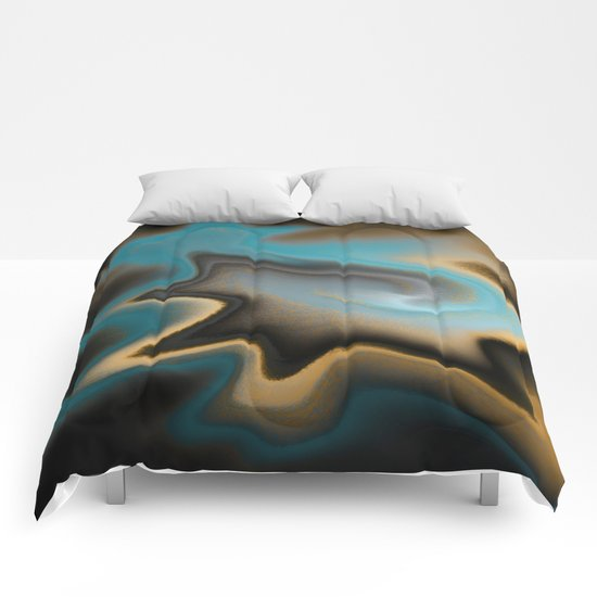 Teal and Orange Abstract 01 Comforters
