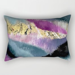 Gemini: a vibrant, colorful abstract piece in gold, purple, blue, black, and white Rectangular Pillow