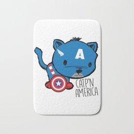 Superhero Cat Catp'n America Cute Kitten Bath Mat