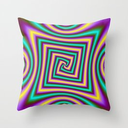 Angular Spiral in Violet Yellow and Turquoise Throw Pillow