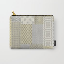 Modern Farmhouse Patchwork Quilt in Gray Marigold and Oatmeal Carry-All Pouch