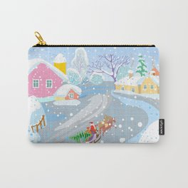 winter decorative landscape in naive style, winter village and santa claus on sleigh with christmas Carry-All Pouch