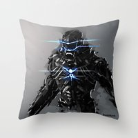 suit Throw Pillows featuring Raven Suit by Benedick Bana