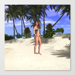 Tropical Bathing Beauty Sheila Canvas Print