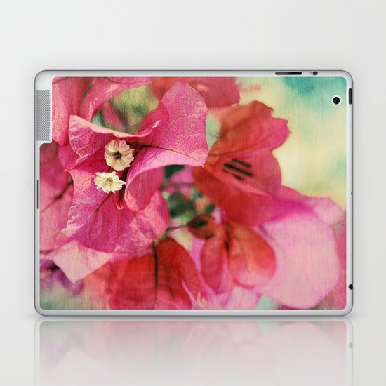 Vintage Bougainvillea Flowers in pink & green with textures Laptop & iPad Skin