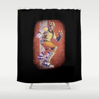 borderlands Shower Curtains featuring Psycho by Flashes on Match-heads