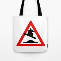snowboard Tote Bags featuring Snowboard road sign by Komrod