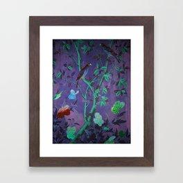 Aubergine & Teal Chinoiserie Framed Art Print