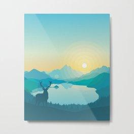 Flat Forest Sunrise Metal Print