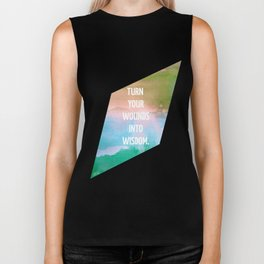 Wounds to Wisdom, Inspirational Typography on Geometric Watercolor Biker Tank