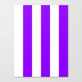 Wide Vertical Stripes - White and Violet Canvas Print
