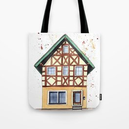 Half-timbered whimsical house in watercolors Tote Bag