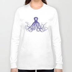 Octopus   Navy Blue and White Long Sleeve T-shirt