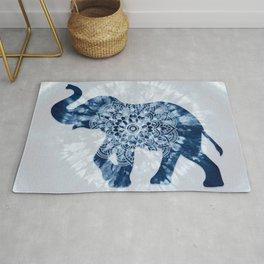 Elephant Mandala Indigo Blue Tie Dye Rug