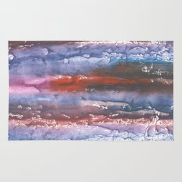Brown Blue colored watercolor Rug