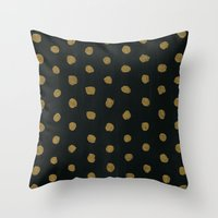gold dots Throw Pillows featuring GOLD DOTS by n a t