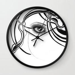 Fashion girl with smoky eyes Wall Clock