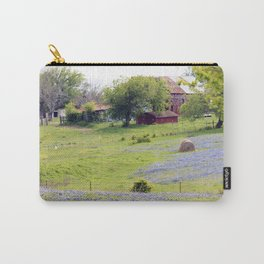 Old Red Barn and Rolling Bluebonnet Hills Carry-All Pouch