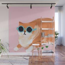 sunglass cat Wall Mural