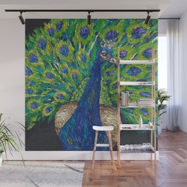 Glimmering Peacock Wall Mural