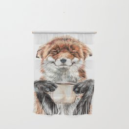 """"""" Morning fox """" Red fox with her morning coffee Wall Hanging"""