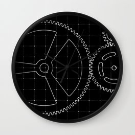 Set of white gears and cogs on virtual screen Wall Clock