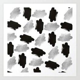 Black faux silver modern abstract brushstrokes Art Print