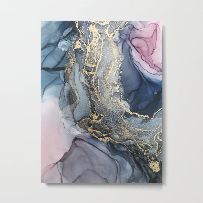 Blush, Payne's Gray and Gold Metallic Abstract Metal Print