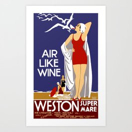 Vintage Weston Super Mare England Travel Art Print