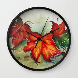 Autumn Leaves (Platanus) Wall Clock