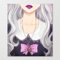 pastel goth Canvas Prints featuring Pastel Goth Girl by Elisa Ellie Serio