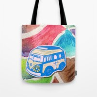 vw bus Tote Bags featuring VW Bus Campervan by Carrie at Dendryad Art