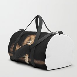 Lion and lioness, animals family. Portrait in the dark Duffle Bag