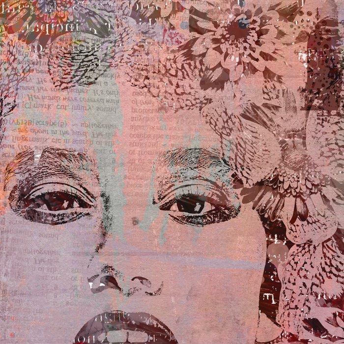 Wild Woman modern face mixed media art orange Leggings
