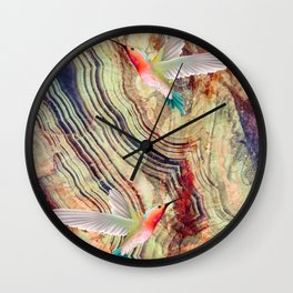 hummingbirds marble Wall Clock