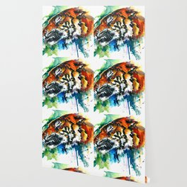 Orange Mad Tiger Watercolor Wallpaper