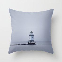 Burlington Breakwater North Lighthouse Throw Pillow
