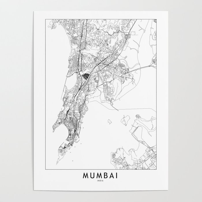 Mumbai White Map Poster