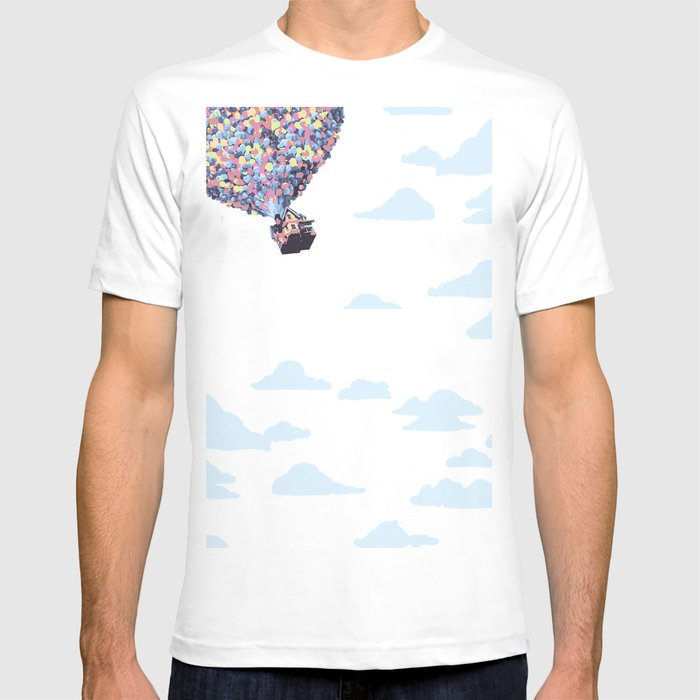 disney pixar up.. balloons and sky with house T-shirt