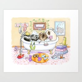Bath Buddies - Three Pugs in the Tub Art Print