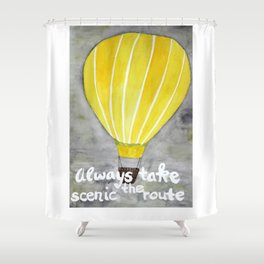 Yellow hot air balloon Shower Curtain