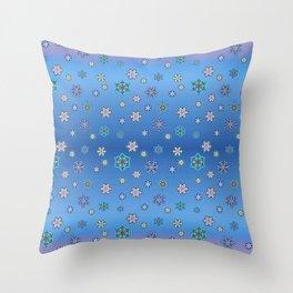 Snowflakes Lila-Blue Throw Pillow